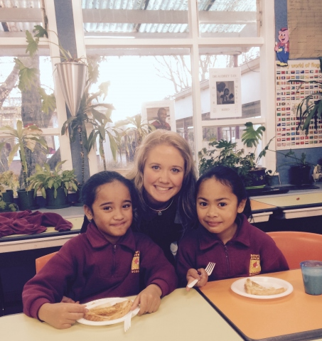 Future Leader scholar Sally Terry at a breakfast club session with Rowley Avenue School pupils Lialanie Muamua (left) and Eseta Fili.